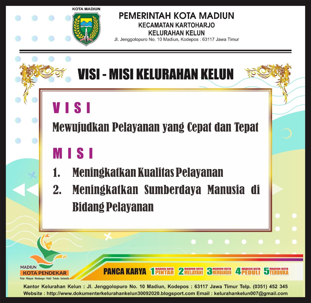 VISI & MISI PEMERINTAH KOTA MADIUN DI KELURAHAN KELUN KECAMATAN KARTOHARJO 2019 -2024